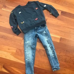 Gymboree Bow Sweater and Girlfriend Jeans